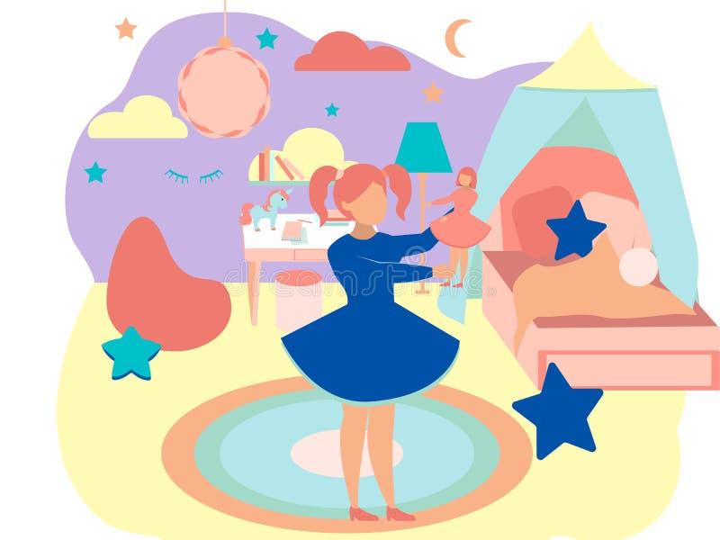 Το εσωτερικό του δωματίου κοριτσιών Στο μινιμαλιστικό επίπεδο ράστερ κινούμενων σχεδίων ύφους ελεύθερη απεικόνιση δικαιώματος