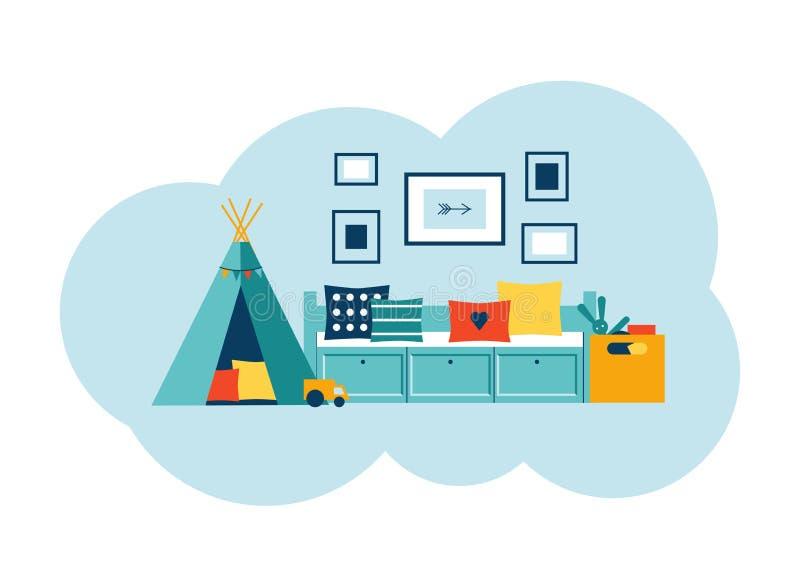Το εσωτερικό του δωματίου των παιδιών σε ένα σύγχρονο ύφος διανυσματική απεικόνιση