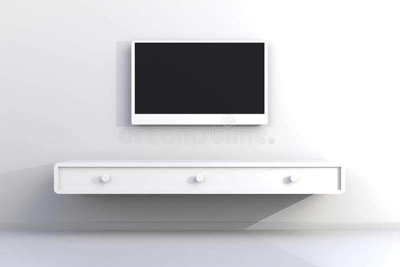 Το εσωτερικό του κενού δωματίου με τη TV, καθιστικό οδήγησε τη TV στον άσπρο τοίχο με το ξύλινο ύφος επιτραπέζιων σύγχρονο σοφιτώ απεικόνιση αποθεμάτων