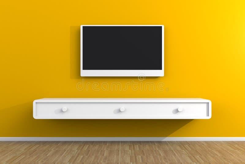 Το εσωτερικό του κενού δωματίου με τη TV, καθιστικό οδήγησε τη TV στον κίτρινο τοίχο με το ξύλινο ύφος επιτραπέζιων σύγχρονο σοφι ελεύθερη απεικόνιση δικαιώματος
