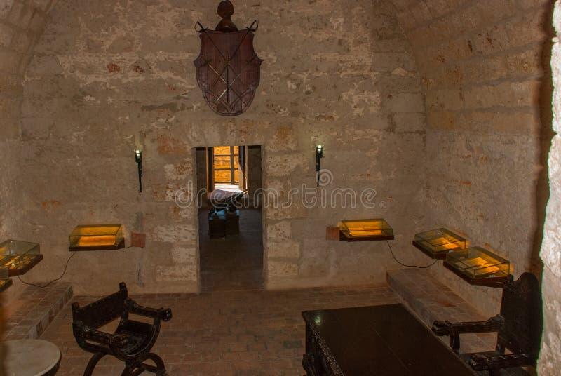 Το εσωτερικό του μουσείου φρουρίων Οχύρωση Castillo de Jagua του κάστρου Παλαιό φρούριο στην Κούβα Cienfuegos στοκ φωτογραφία