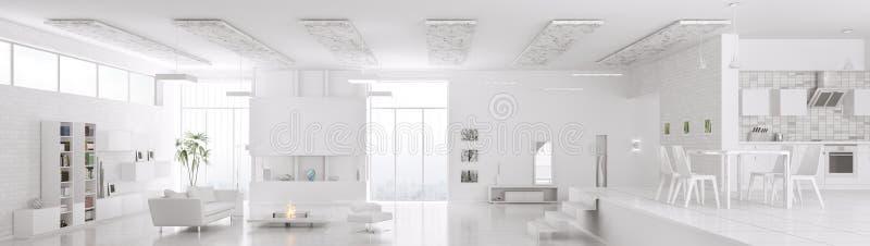 Το εσωτερικό του σύγχρονου άσπρου πανοράματος διαμερισμάτων τρισδιάστατου δίνει διανυσματική απεικόνιση