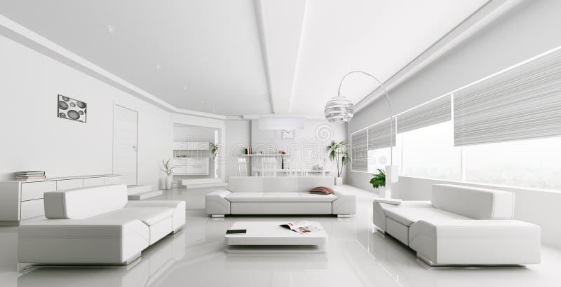 Εσωτερικό της σύγχρονης άσπρης απόδοσης καθιστικών απεικόνιση αποθεμάτων
