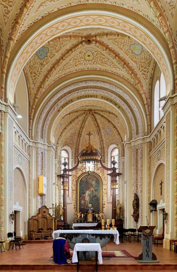 Το εσωτερικό του ST Martin του καθεδρικού ναού γύρων στην πόλη Mukachevo στην Ουκρανία στοκ εικόνα με δικαίωμα ελεύθερης χρήσης