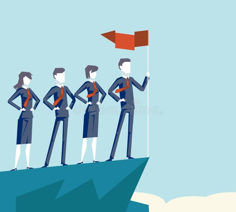 Το εταιρικό ομαδικής εργασίας βουνό συμβόλων χαρακτήρα επιχειρηματιών σημαιών επιχειρησιακής επιτυχίας τοπ καλύπτει την επιχειρησ απεικόνιση αποθεμάτων
