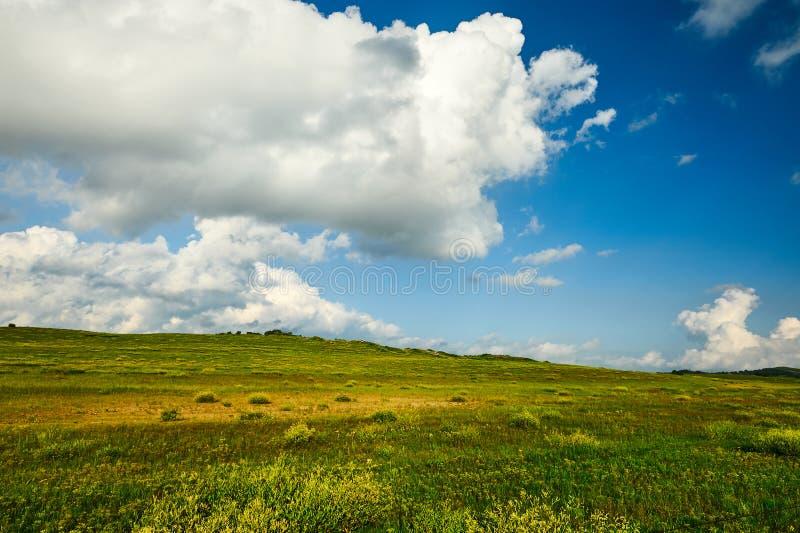 Το λευκό καλύπτει και μπλε ουρανός επάνω τη στέπα στοκ εικόνα