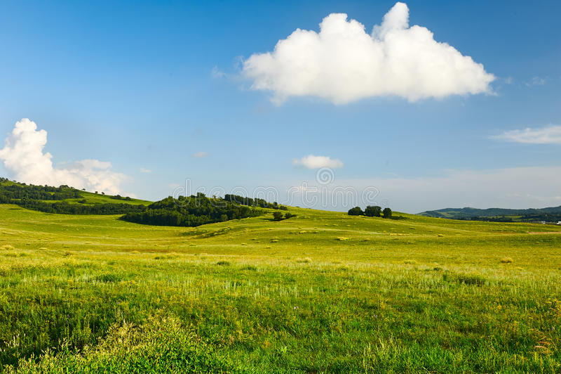 Το λευκό καλύπτει και μπλε ουρανός επάνω το λιβάδι στοκ εικόνες