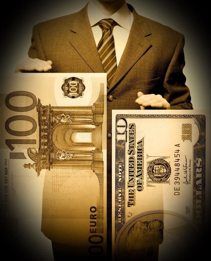 το ευρο- χάσμα δολαρίων διαγραμμάτων επιχειρηματιών εμφανίζει στοκ φωτογραφία με δικαίωμα ελεύθερης χρήσης