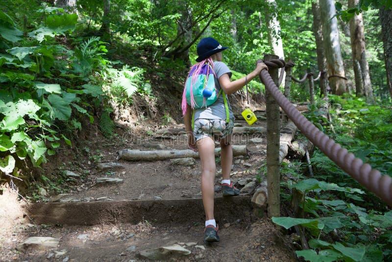 Το ευρωπαϊκό κορίτσι αναρριχείται επάνω στα φυσικά σκαλοπάτια στο θερινό δάσος, διαδρομή πεζοπορίας, οπισθοσκόπος, copyspace στοκ φωτογραφίες