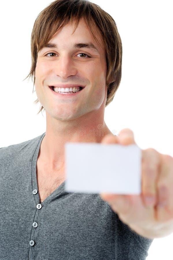 Download Το ευτυχές άτομο εμφανίζει κενή επαγγελματική κάρτα Στοκ Εικόνα - εικόνα από μοιχαλίδα, όμορφος: 22775459