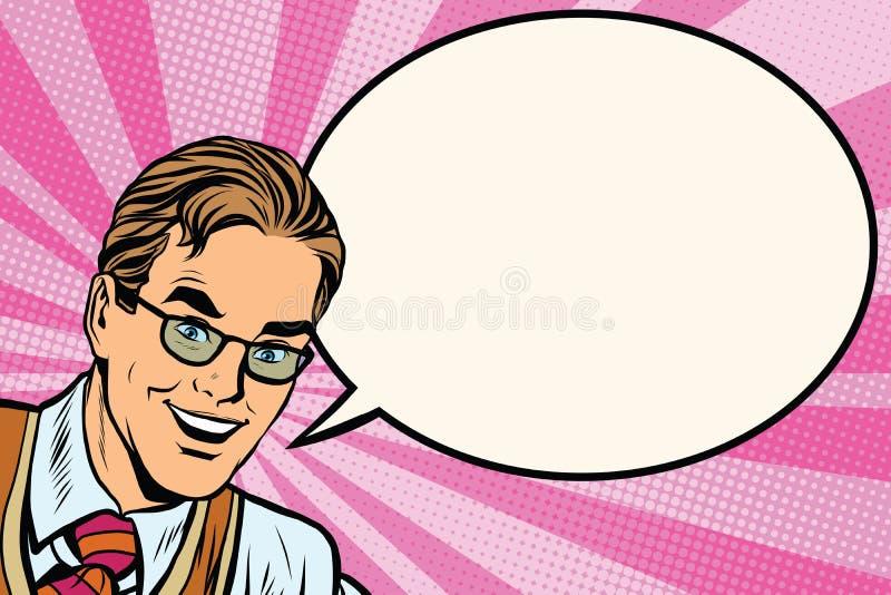 Το ευτυχές άτομο με τα γυαλιά σκάει την τέχνη αναδρομική απεικόνιση αποθεμάτων