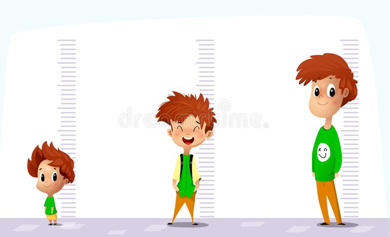 Το ευτυχές αγόρι μετρά την αύξησή του των διαφορετικών ηλικιών απεικόνιση αποθεμάτων