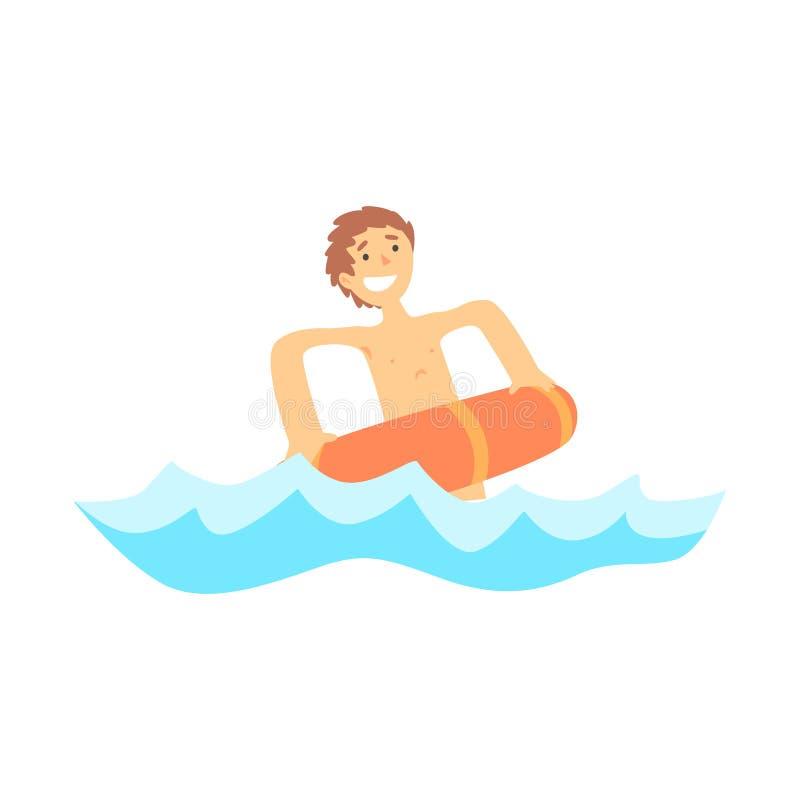 Το ευτυχές αγόρι που έχει τη διασκέδαση με το κόκκινο λάστιχο κολυμπά το δαχτυλίδι στη θάλασσα απεικόνιση αποθεμάτων