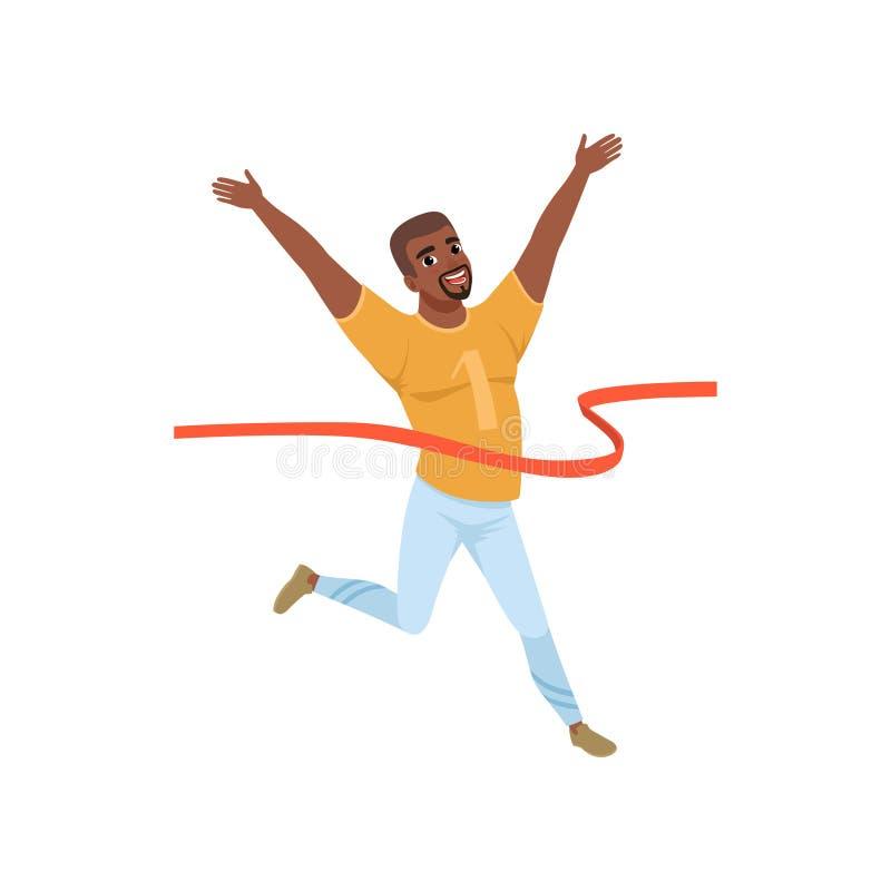 Το ευτυχές αφροαμερικανός άτομο που διασχίζει το κόκκινο τελειώνει την ταινία Δρομέας μαραθωνίου Επίπεδο διανυσματικό σχέδιο ελεύθερη απεικόνιση δικαιώματος