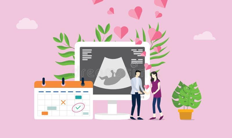 Το ευτυχές ζεύγος μητρότητας ή εγκυμοσύνης με την αγάπη και το ημερολόγιο και την ανίχνευση γέννησης εξετάζει - διάνυσμα διανυσματική απεικόνιση