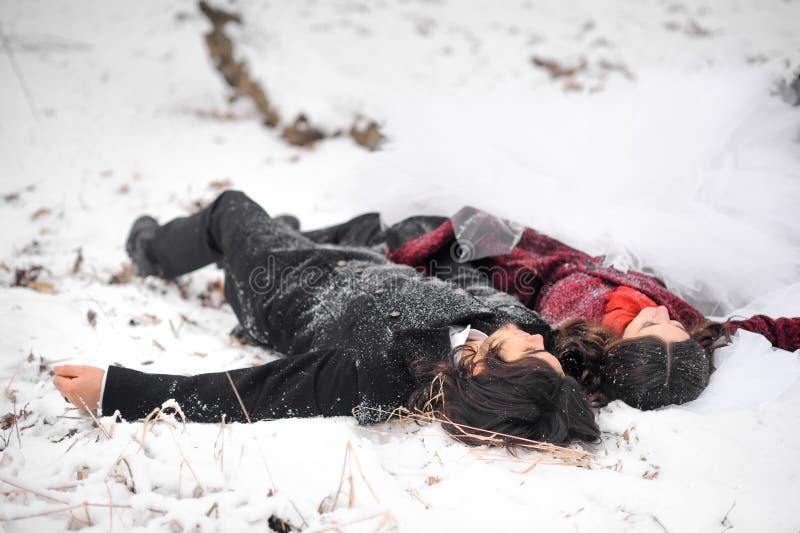Το ευτυχές ζεύγος, ο νεόνυμφος μαζί με τη νύφη βρίσκεται στο χιόνι με την αγάπη εξετάζει το μειωμένο χιόνι και τι εκείνο το όνειρ στοκ φωτογραφία