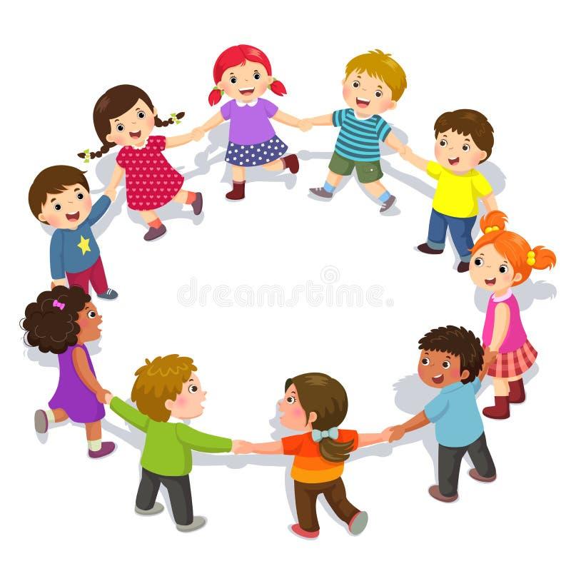 Το ευτυχές κράτημα παιδιών παραδίδει έναν κύκλο Χαριτωμένα αγόρια και κορίτσια που έχουν τη διασκέδαση ελεύθερη απεικόνιση δικαιώματος