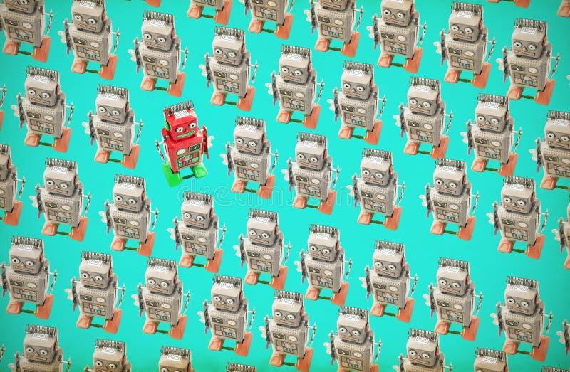 Το ευτυχές κόκκινο ρομπότ πηγαίνει ενάντια στο πλήθος στοκ φωτογραφία