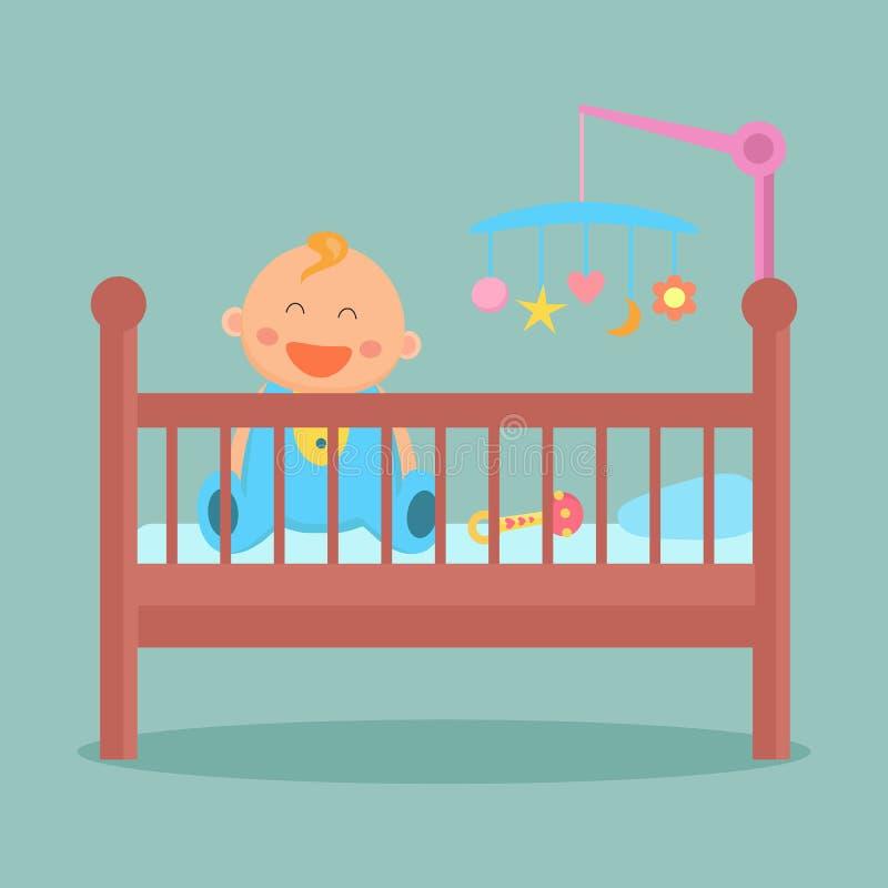 Το ευτυχές μωρό συνεδρίασης είναι στο παχνί απεικόνιση αποθεμάτων