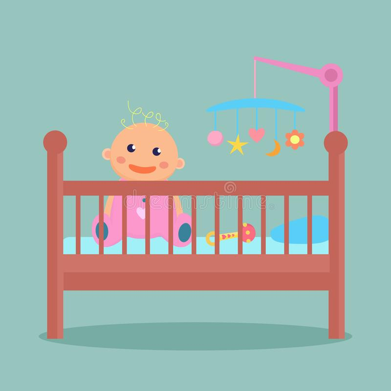 Το ευτυχές μωρό συνεδρίασης είναι στο παχνί διανυσματική απεικόνιση