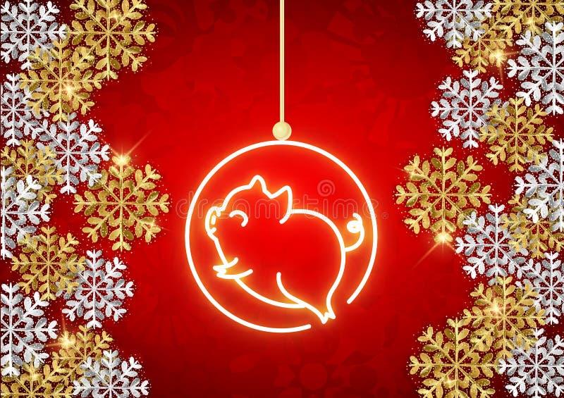 Το ευτυχές νέο έτος του 2019 του χοίρου, ζώο νέου και ακτινοβολεί snowflak ελεύθερη απεικόνιση δικαιώματος