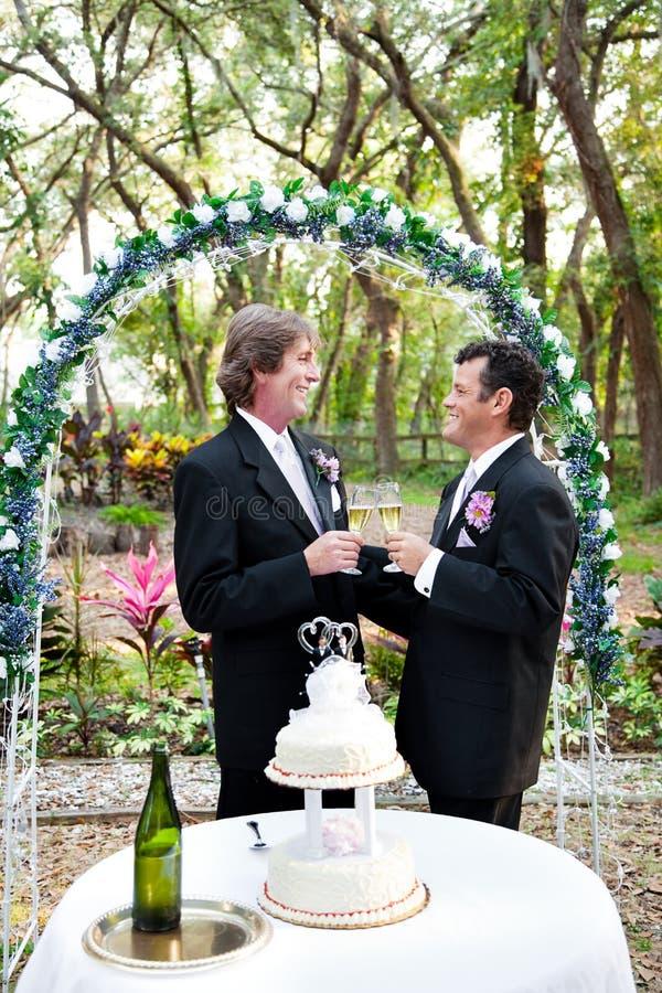 Το ευτυχές ομοφυλοφιλικό ζεύγος παντρεύεται στοκ εικόνες