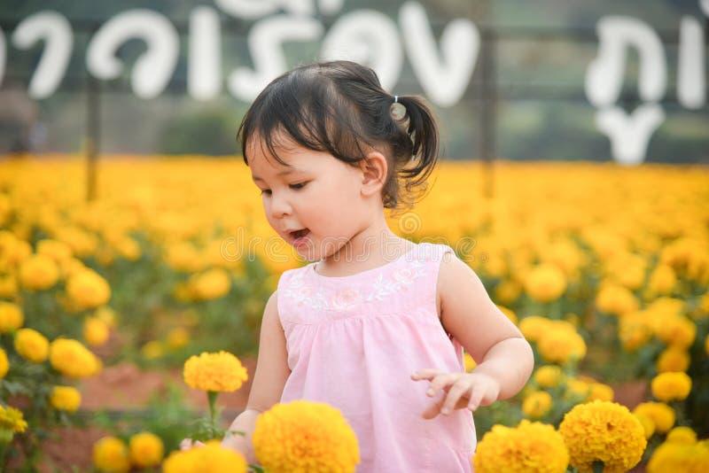Το ευτυχές παιδί με Marigold άνοιξη ανθίζει κίτρινο στοκ φωτογραφίες