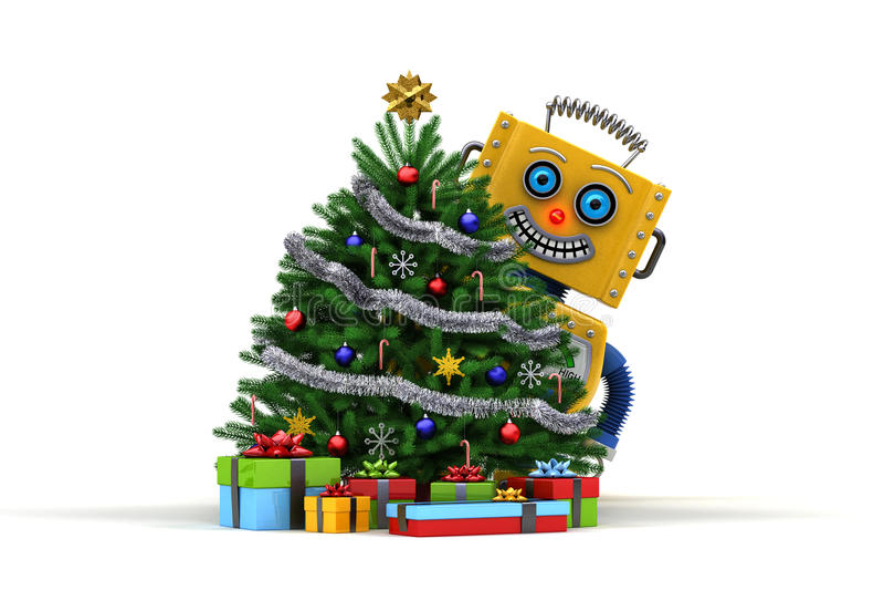 Το ευτυχές ρομπότ παιχνιδιών με το χριστουγεννιάτικο δέντρο και παρουσιάζει ελεύθερη απεικόνιση δικαιώματος