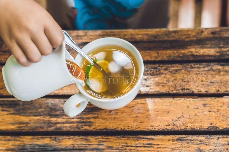 Το ευτυχές συμπαθητικό αγόρι χύνει το μέλι στο τσάι στο θερινό πράσινο κήπο στοκ εικόνες