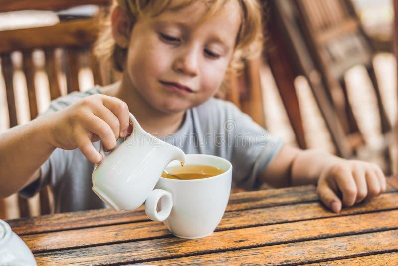 Το ευτυχές συμπαθητικό αγόρι χύνει το μέλι στο τσάι στο θερινό πράσινο κήπο στοκ εικόνα με δικαίωμα ελεύθερης χρήσης