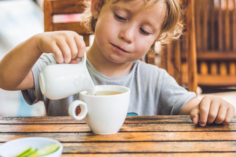 Το ευτυχές συμπαθητικό αγόρι χύνει το μέλι στο τσάι στο θερινό πράσινο κήπο στοκ φωτογραφία με δικαίωμα ελεύθερης χρήσης