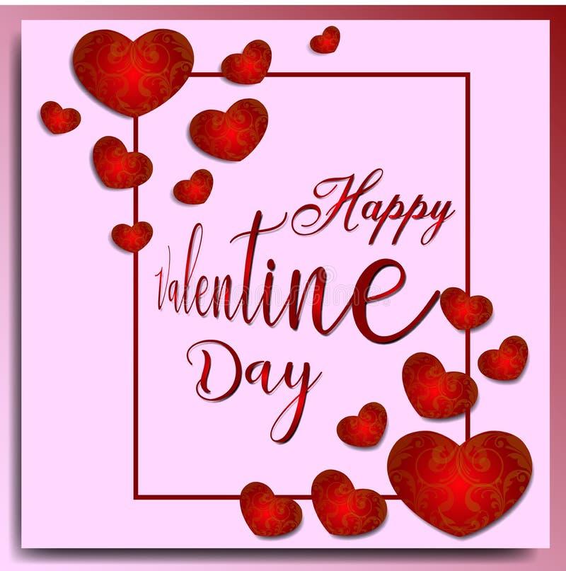 Το ευτυχές υπόβαθρο ημέρας βαλεντίνων με το κόκκινο ακούει στη floral διακόσμηση και τα ρόδινα υπόβαθρα διανυσματική απεικόνιση