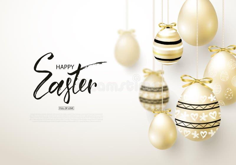 Το ευτυχές υπόβαθρο Πάσχας με ρεαλιστικό χρυσό λάμπει διακοσμημένα αυγά Σχεδιάγραμμα σχεδίου για την πρόσκληση, ευχετήρια κάρτα,  απεικόνιση αποθεμάτων