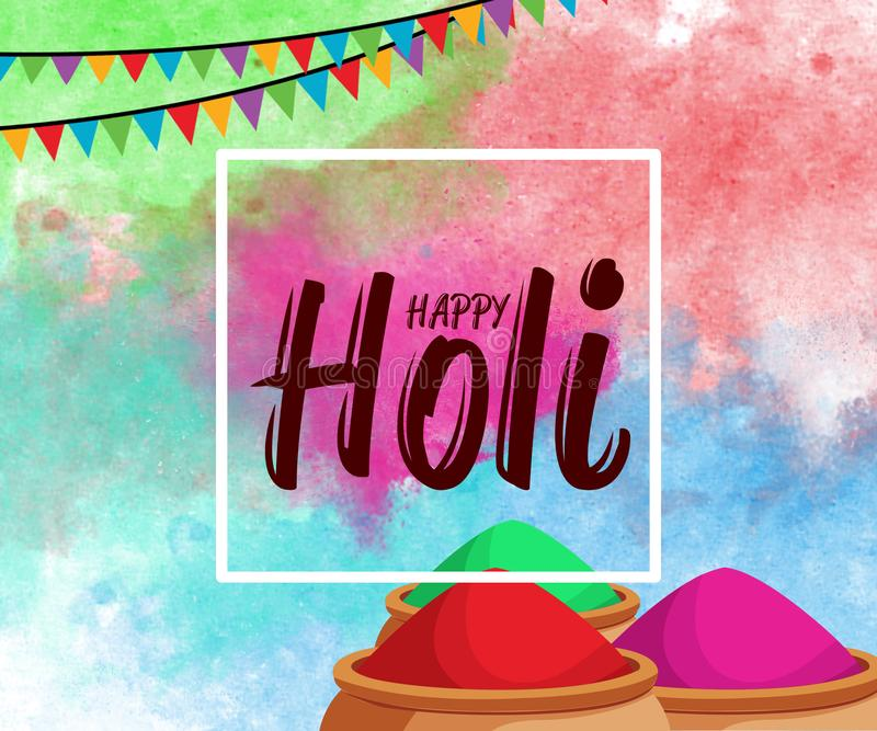 Το ευτυχές φεστιβάλ άνοιξη Holi του υποβάθρου χρωμάτων με το ρεαλιστικό ογκομετρικό ζωηρόχρωμο χρώμα σκονών Holi καλύπτει και το  ελεύθερη απεικόνιση δικαιώματος