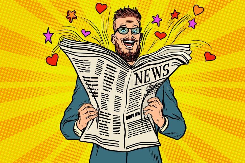 Το ευτυχές hipster διαβάζει τις ειδήσεις εφημερίδων διανυσματική απεικόνιση