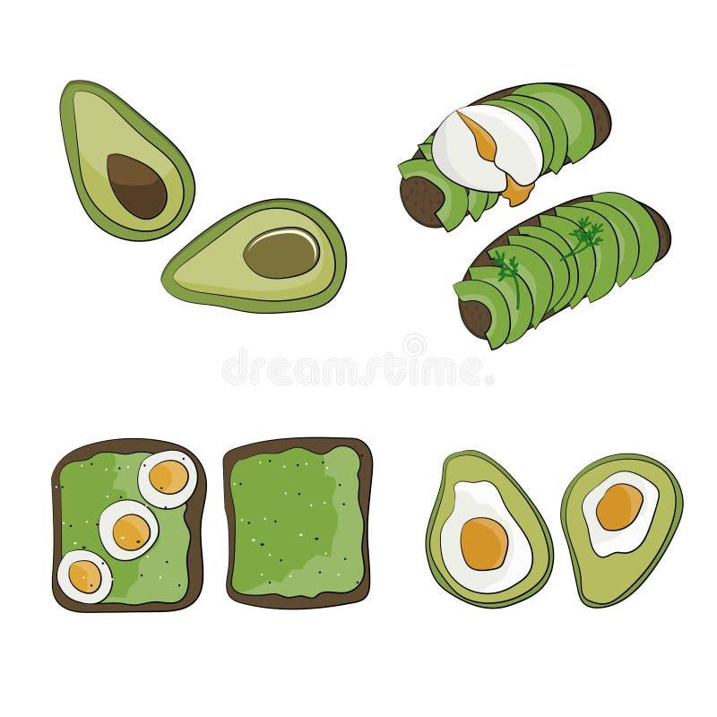 Το εύγευστο οργανικό πρόγευμα το ψωμί με το αβοκάντο και το αυγό διανυσματική απεικόνιση