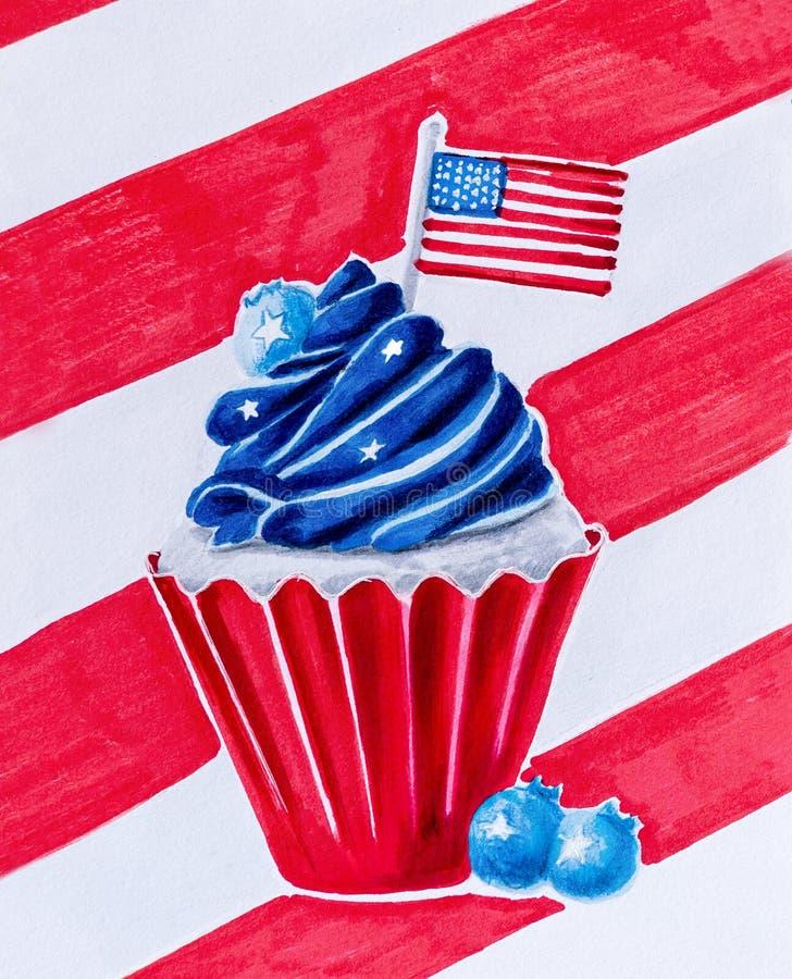 Το εύγευστο cupcake που χρωματίστηκε στα χρώματα αμερικανικών σημαιών με το βακκίνιο, τα αστέρια και τη συρμένη χέρι απεικόνιση σ στοκ εικόνες