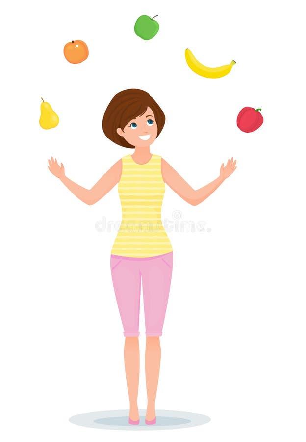 Το εύθυμο κορίτσι κάνει ταχυδακτυλουργίες με τα φρούτα και λαχανικά r διανυσματική απεικόνιση
