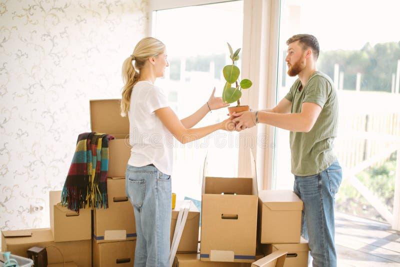 Το ζεύγος ανοίγει τα κιβώτια στο νέο σπίτι Γυναίκα που δίνει το λουλούδι στο σύζυγό της στοκ εικόνες με δικαίωμα ελεύθερης χρήσης