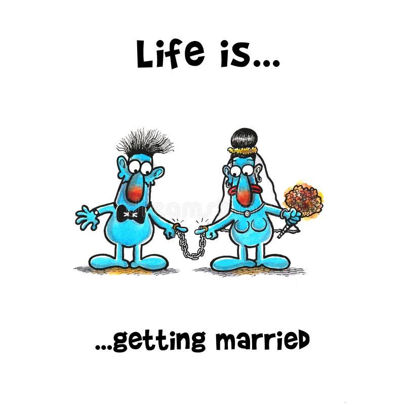 Το ζεύγος είναι ακριβώς παντρεμένο έχει τις αλυσίδες στο δάχτυλό τους απεικόνιση αποθεμάτων