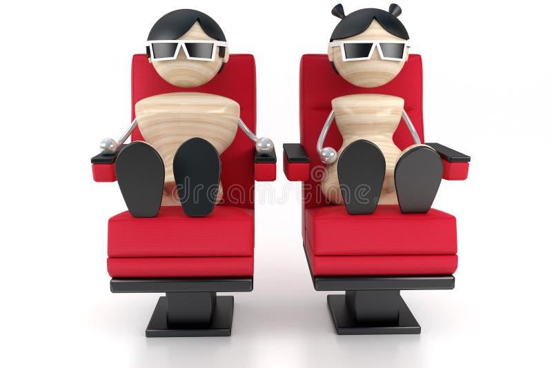 το ζεύγος κινηματογράφων κοιτάζει κάθεται διανυσματική απεικόνιση