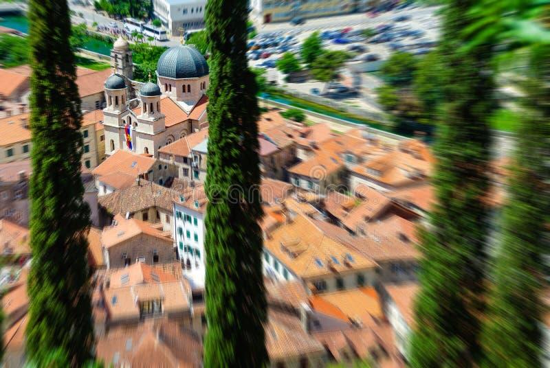 Το ζουμ θόλωσε τη τοπ άποψη της παλαιάς πόλης σε Kotor που στράφηκε σε μια εκκλησία μέσω των πράσινων δέντρων Μαυροβούνιο στοκ φωτογραφία με δικαίωμα ελεύθερης χρήσης