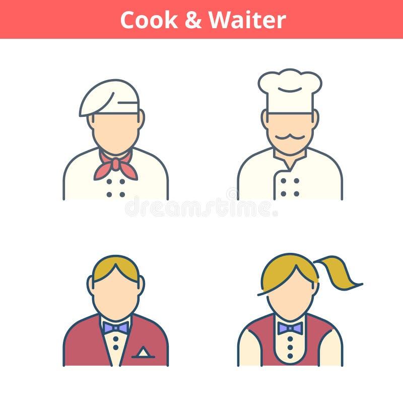 Το ζωηρόχρωμο είδωλο επαγγελμάτων έθεσε: μάγειρας, σερβιτόρος, αρτοποιός Λεπτό outli απεικόνιση αποθεμάτων