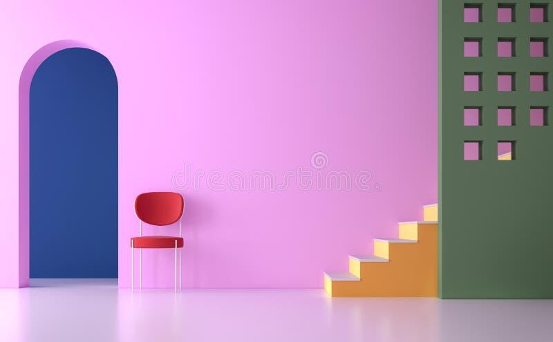 Το ζωηρόχρωμο κενό δωμάτιο τρισδιάστατο δίνει διανυσματική απεικόνιση