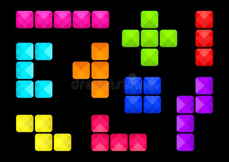 Το ζωηρόχρωμο σύνολο τετραγωνικών κουμπιών στο μαύρο υπόβαθρο, διαφορετικές μορφές εμποδίζει, διάφοροι τύποι συνδέσεων φραγμών r ελεύθερη απεικόνιση δικαιώματος