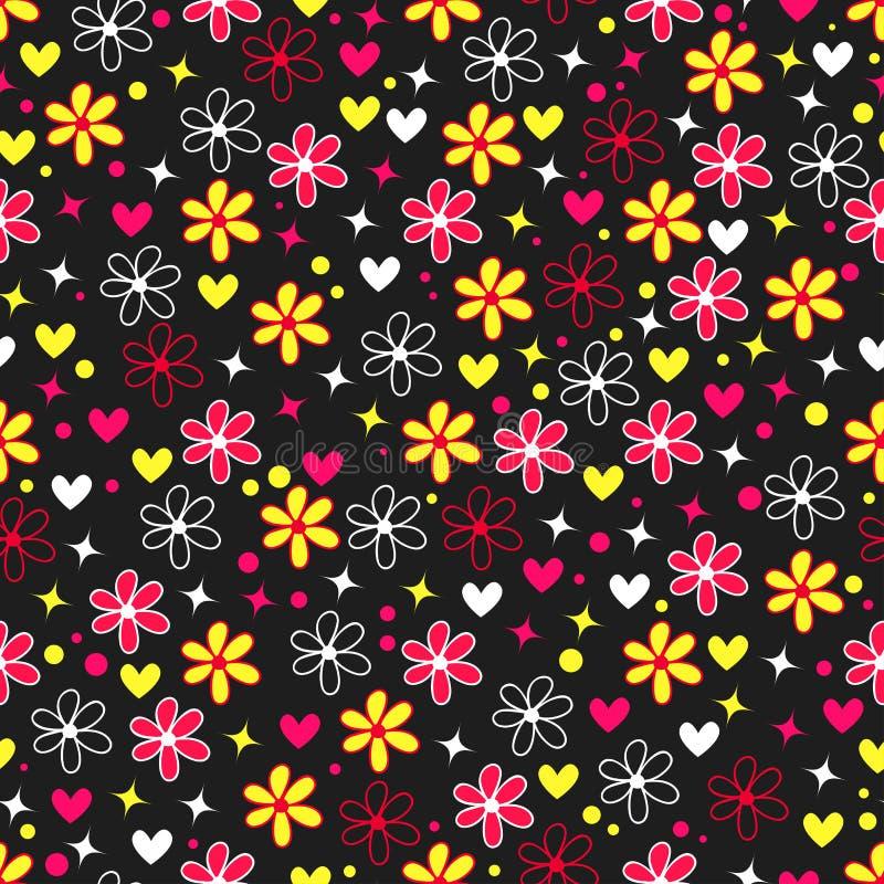 Το ζωηρόχρωμο υπόβαθρο με τα φωτεινά λουλούδια, οι καρδιές και τα αστέρια στο ύφος σκάουν την τέχνη ελεύθερη απεικόνιση δικαιώματος