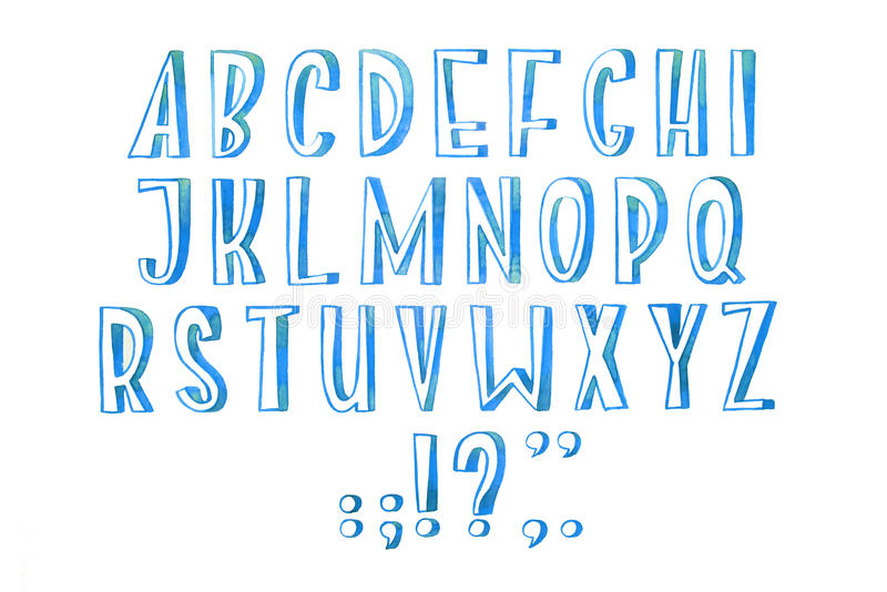 Το ζωηρόχρωμο χειρόγραφο χέρι τύπων πηγών ακουαρελών watercolor σύρει abc τις επιστολές αλφάβητου ελεύθερη απεικόνιση δικαιώματος