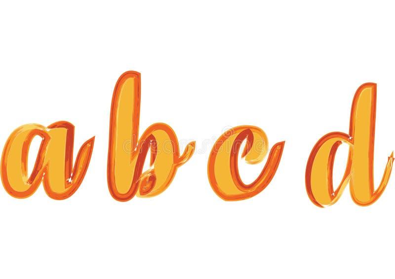 Το ζωηρόχρωμο χειρόγραφο χέρι τύπων πηγών βουρτσών watercolor σύρει doodle το αλφάβητο ένα β γ δ απεικόνιση αποθεμάτων