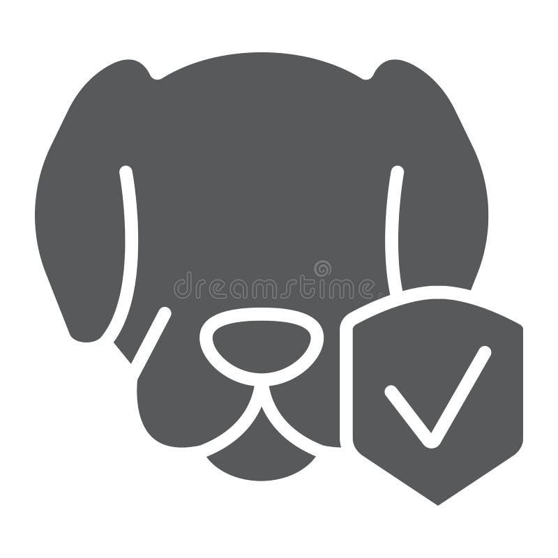 Το ζωικά ασφαλιστικό glyph εικονίδιο, η προστασία και τα κατοικίδια ζώα, σκυλί προστατεύουν το σημάδι, διανυσματική γραφική παράσ ελεύθερη απεικόνιση δικαιώματος
