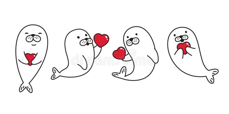 Το ζωικό διανυσματικό λιοντάρι θάλασσας οδόβαινων λογότυπων εικονιδίων χαρακτήρα κινουμένων σχεδίων βαλεντίνων καρδιών σφραγίδων  απεικόνιση αποθεμάτων